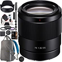 $748 » Sony FE 35mm F1.8 Large Aperture E-Mount Prime Lens SEL35F18F for Full-Frame and APS-C Cameras Premium Accessory Set with Deco Gear Backpack + Filter Kit + Monopod Bundle