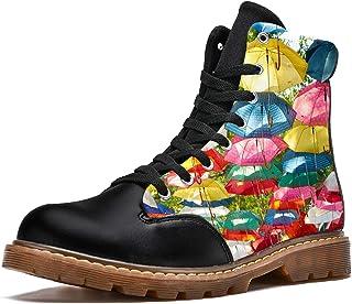 LORVIES Imprimé Parapluie coloré Bottes d'hiver Chaussures Montantes en Toile à Lacets pour Hommes