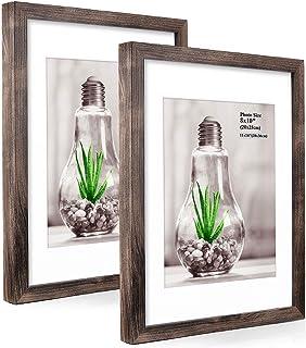 comprar comparacion Metrekey - Juego de 2 marcos de fotos de madera de densidad media con paspartú, colgador de pared o de pie
