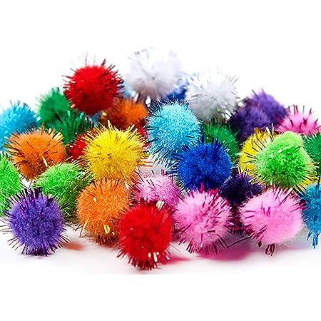 nuluxi Pompons à Paillettes pour Loisirs Créatifs Pom Pom DIY Décoratifs Multicolores Rondes Pompons Mini Pompons Balles pour Fournitures de Loisirs et DIY Décorations Artistiques Créatives (1cm)