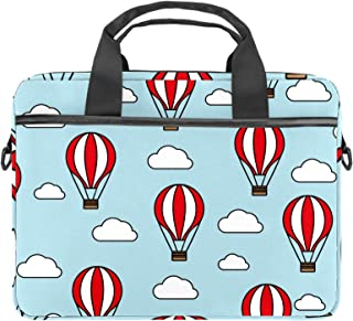 EGGDIOQ Travel Blue Hot Air Balloon Laptop Shoulder Messenger Bag Briefcase Messenger Notebook Sleeve with Handle for 13.4...