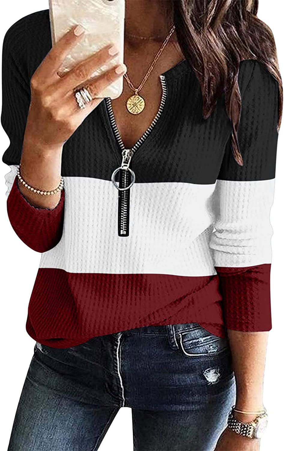 Womens Patchwork Tunics Tops Casual V Neck Long-Sleeved Shirt Pullover Daily Holiday Blouse