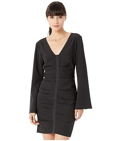 Nicole Miller Scuba Crepe Bell Sleeve Dress (Black) Women