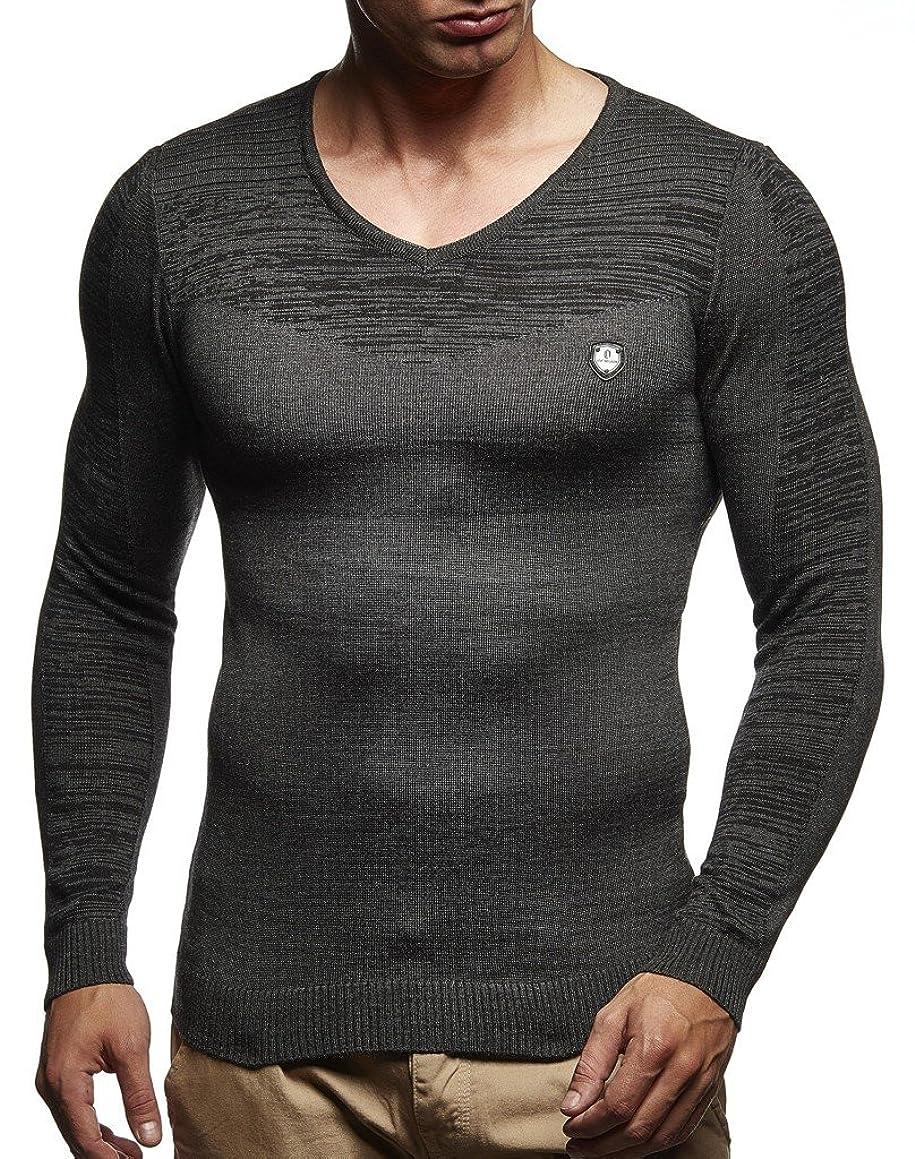 LEIF NELSON Men's Hoodie Knitted Pullover Jumper Basic V-Neck Sweatshirt Longsleeve Long Sleeve Sweater Slim Fit LN1610
