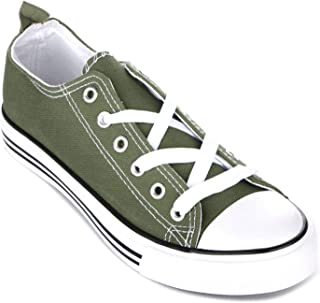 EpicStep Kids Sneakers Tie up Slip on Canvas Shoes with Laces- Comfortable Cap Toe Shoes for Children - Girls Boys
