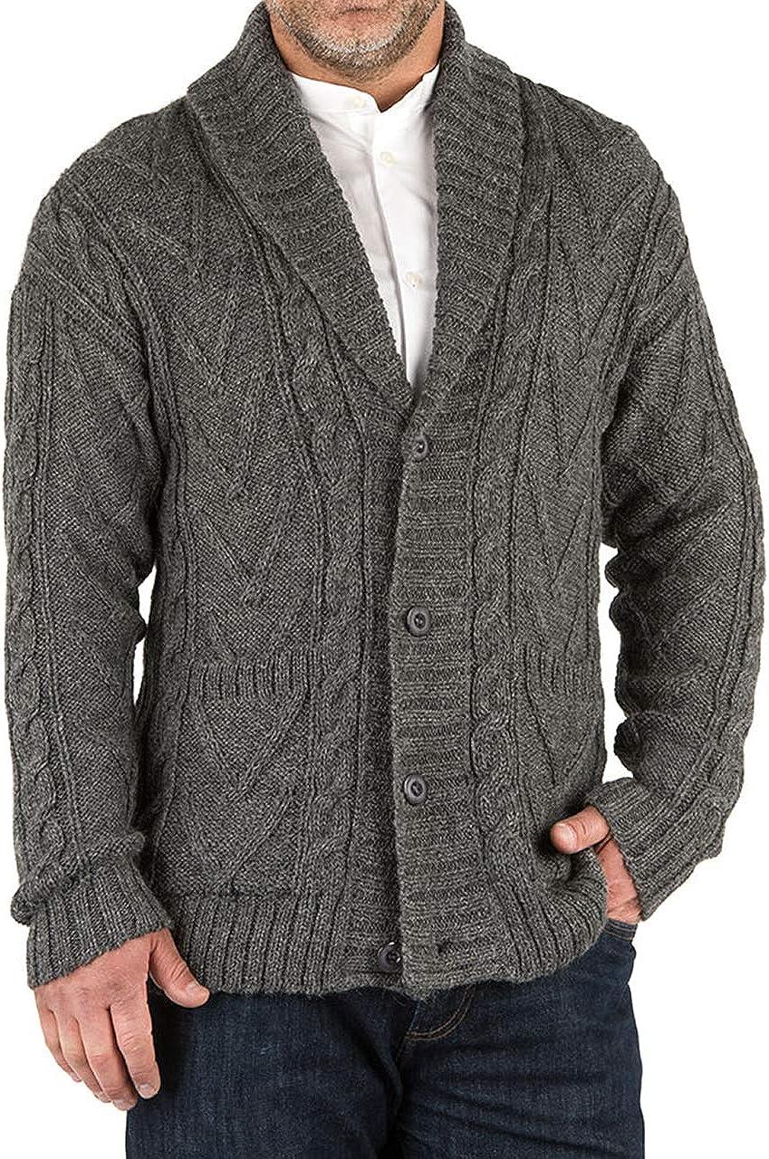 Bombing New item new work Inca Fashions - Irish Aran Men's Bulky Button Knit Down Sweater