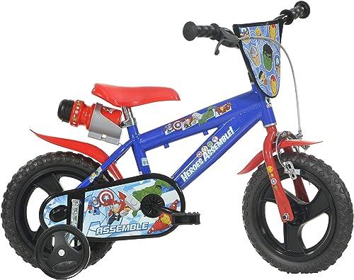 Dino Avengers Kinderfürrad Marvel Jungenfürrad 12 Zoll, Kinderrad mit Stützr rn und Trinkflasche