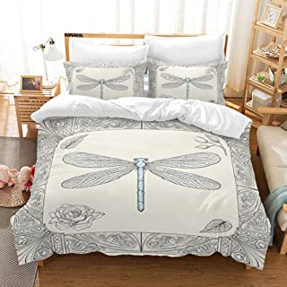 KANAKAL Dragonfly Bedding Set Hand Drawn Royal Style Rose Petals Leaves and Ornate Design Decorative 1 Queen/Full Duvet Cover with 2 Matching Pillow Shams Black Light Blue