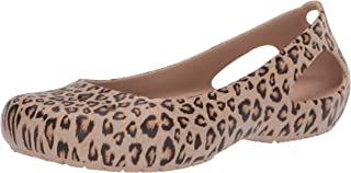 Crocs Women's Kadee Leopard Print Casual Dress Shoe|Comfort Fashion Flat Ballet Gold
