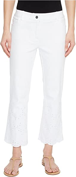 Five-Pocket Crop Jeans with Eyelet Hem in White