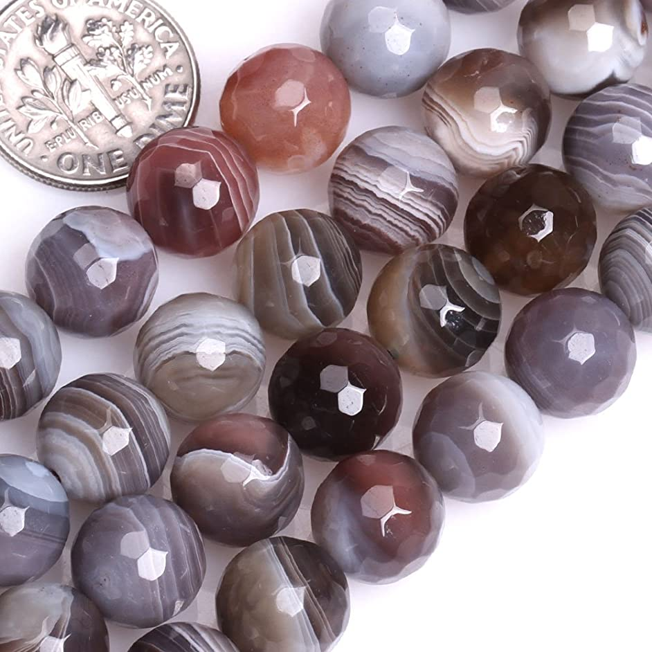 GEM-inside 10mm Round Faceted Botswana Agate Beads Strands 15 Inchesjewelry Making Beads