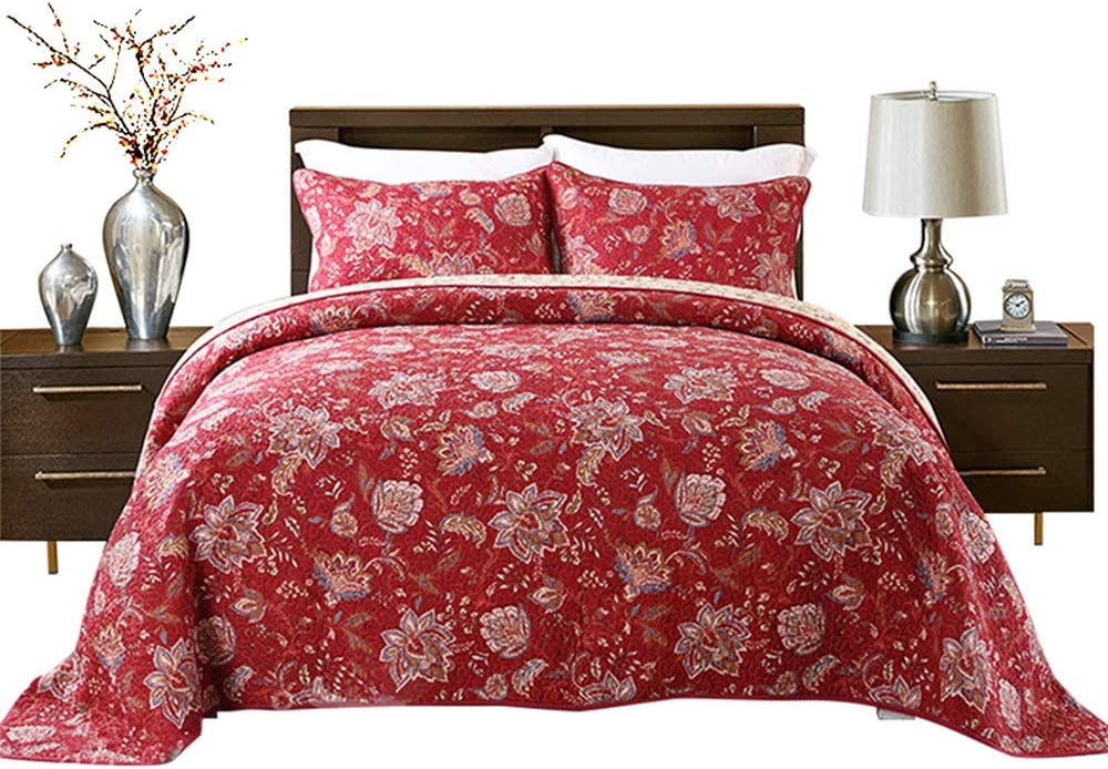 HNNSI 3 service Pieces Quilt Comforter Sets Queen Dedication Size PCS Red Flower