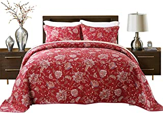 HNNSI 3 Pieces Quilt Comforter Sets Queen Size 3 PCS, Red Flower Patchwork Cotton Bedspread,Comfy and Soft Bedding Sets (Red Floral)