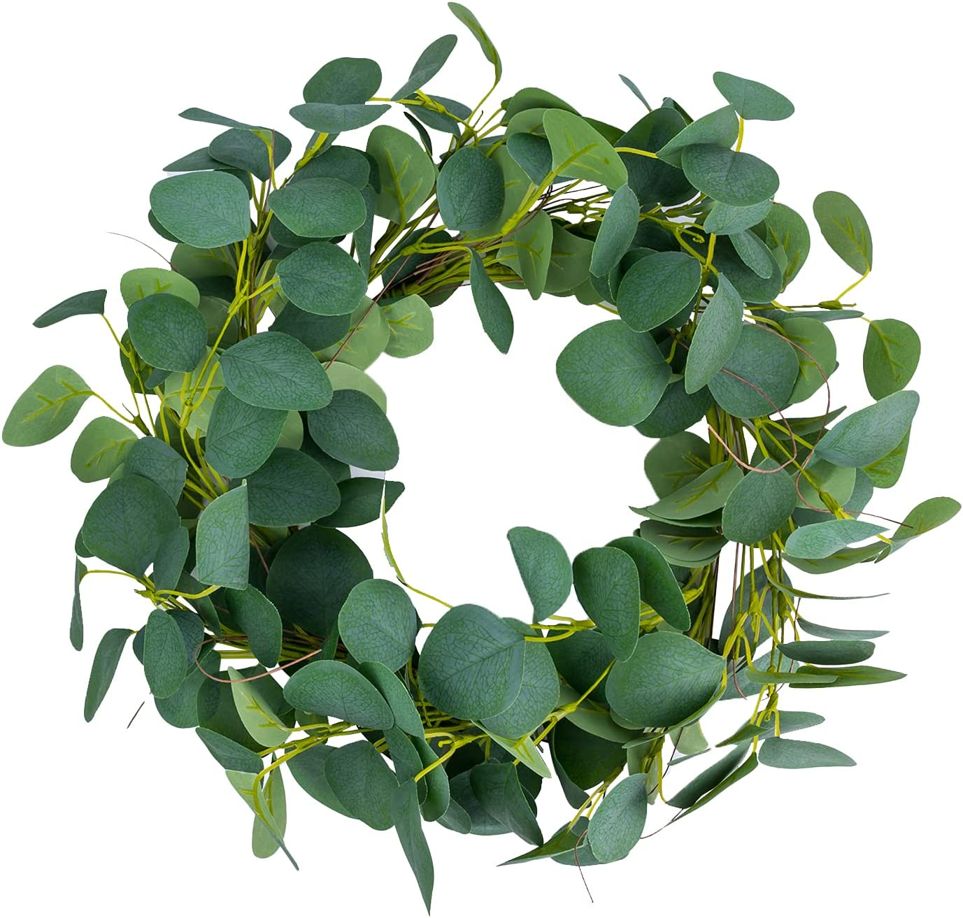 Foeyyir Eucalyptus Wreaths for Front Door 12 Inch Artificial Green Leaf Wreath for Spring Summer and All Seasons Indoor Outdoor Wall Decor for Festival Celebration