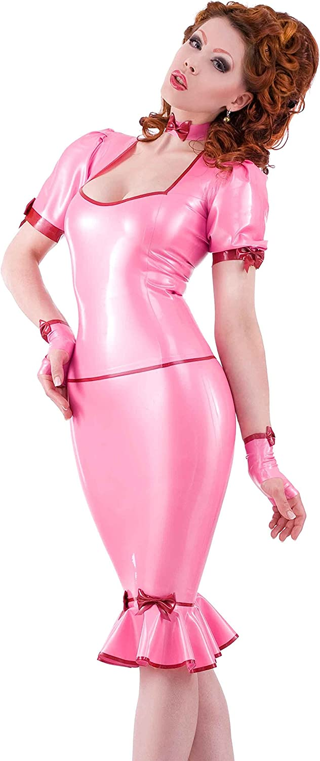 Westward Bound DeeLicious Latex Rubber Top. Pearl Sheen Fuchsia with Pearl Sheen Red Trim.