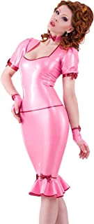 Dee-Licious Latex Rubber Top. Pearl Sheen Fuchsia with Pearl Sheen Red Trim.