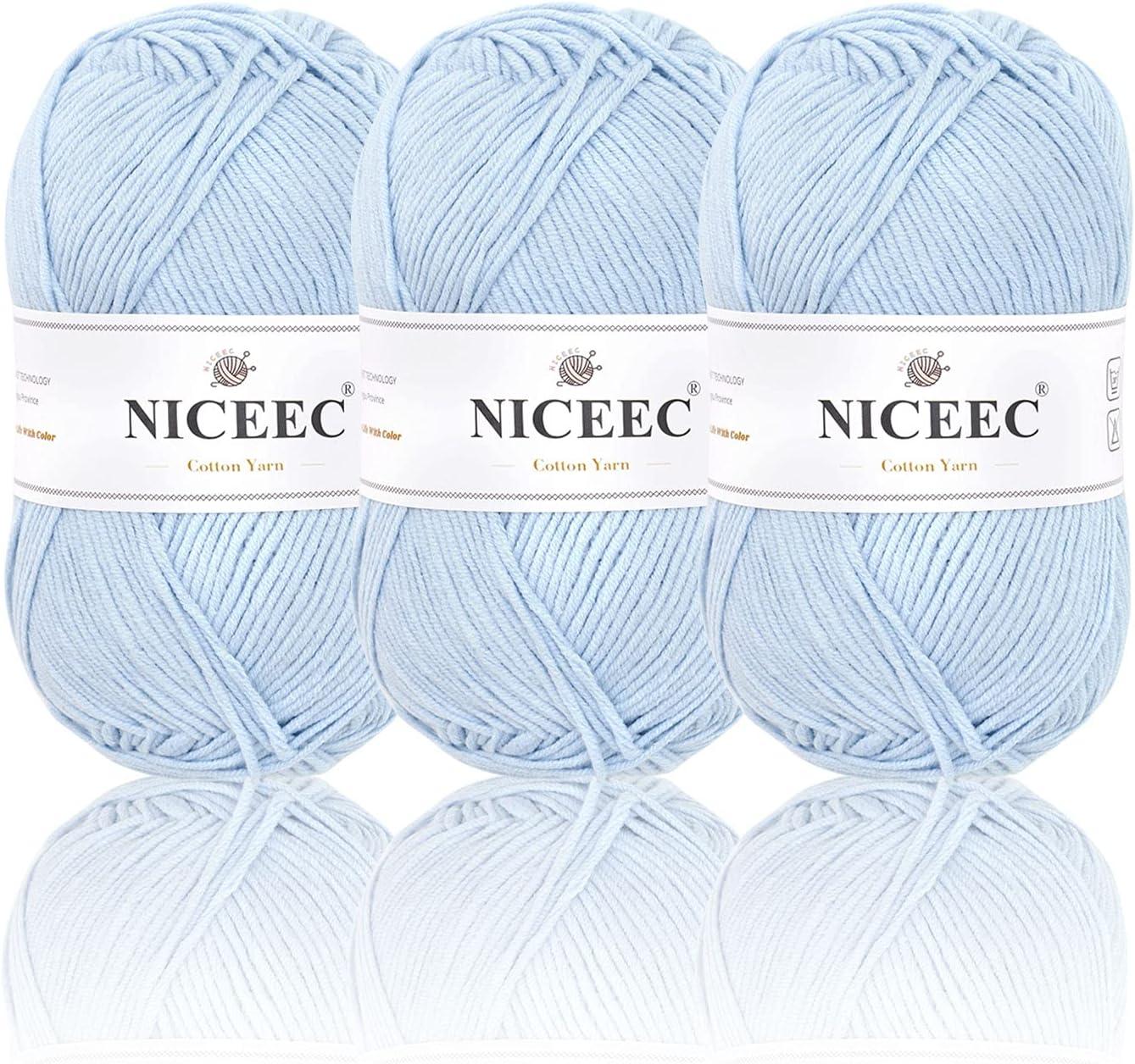 NICEEC 3 Washington Mall Skeins Soft Max 78% OFF Cotton 5ply Baby for Knitt Yarn
