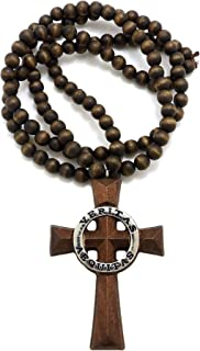 GWOOD Veritas Aequitas Wood Brown with Silver Color with 36 Inch Necklace