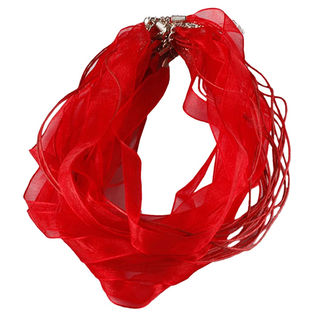 SUNYIK Red Organza Ribbon Voile Cord Lobster Clasp Necklaces 19 inches Pack of 80