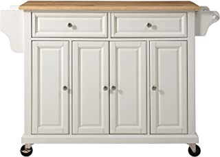 Crosley Furniture Rolling Kitchen Island with Natural Wood Top, White