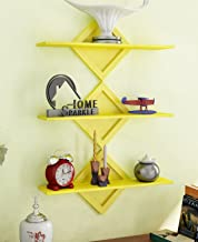 Home Sparkle Set of 3 Wall Shelves Engineered Wood (Yellow)