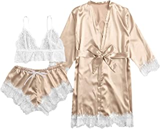 Women's Sleepwear Floral Lace Trim Satin Cami Pajama Set...