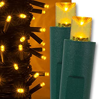 Kringle Traditions Gold LED Christmas Mini String Light Set, 50 Lights, 17 ft Indoor/Outdoor Gold Christmas Lights Decorations Gold Christmas Tree Lights, 4