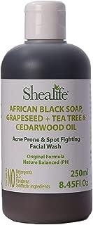 Shealife African Black Soap Liquid Grapeseed & Tea Tree & Cedarwood Oil Teenage Face Wash Acne Prone & Spot Fighting Formula 250Ml 8.45 Fl Oz Black