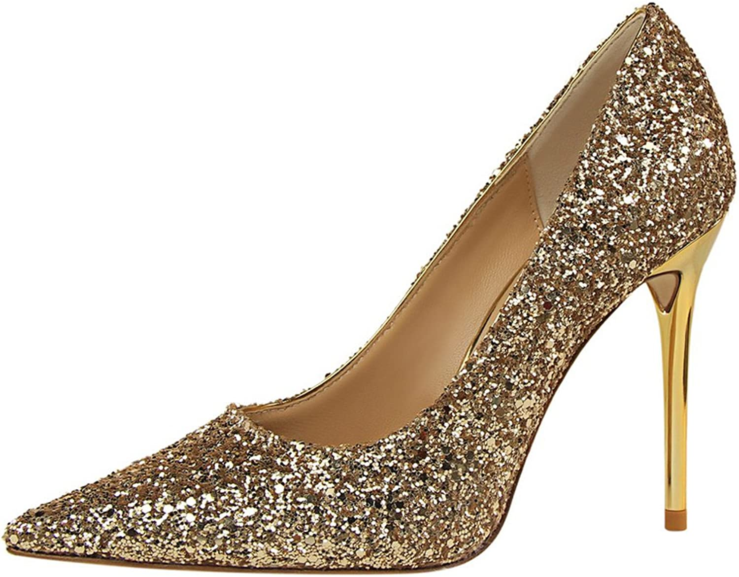 BIGTREE Sexy Shiny Sequins Wedding High Heel shoes Women Pointed Toe Dress Pumps