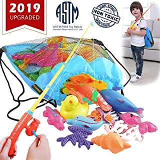 CozyBomB Magnetic Fishing Game for Kids - Bath Pool Toys Set for Water Table Learning Education Fishin for Bathtub Fun with 4 Squeak Rubber Animal and Boat, Poles Rod Net Fishes for Kids Age (Blue)