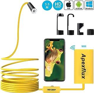 Apexflux Cámara Endoscópica Cámara de Inspección Inalámbrica USB con Boroscopio WiFi Cámara Semi Rígida Snake 1200P para Android iOS Windows (amarillo)