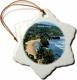 3dRose ORN_61994_1 Barbados Beach-Snowflake Ornament, Porcelain, 3-Inch