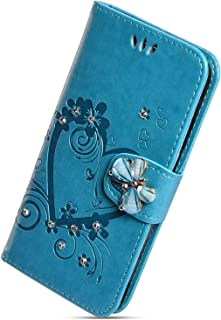 Herbests Compatible with Samsung Galaxy A6 2018 Wallet Case Luxury Bling Diamond Mandala Flower Pressed Case with Stand Flip Folio PU Leather Shockproof Cover Magnetic Wrist Strap,Red