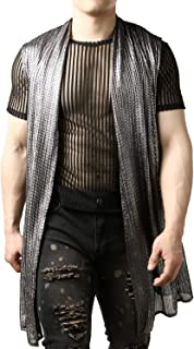 JOGAL Men's Mesh See Through Cardigan Muscle Top