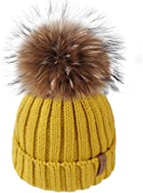 FURTALK Kids Winter Toddler Hats for Girls Boys Baby Cotton Lined Fur Pom Pom Beanie Hat,Age 6 Months-10 Years