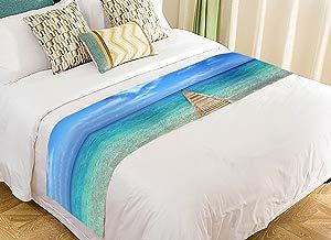 Custom Wooden Bridge to Ocean Blue Sky Sea Ocean Coastal Bed Runner Bedding Scarf Size 20x95 inches