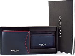 """Michael Kors""""Valentine's Special"""" Jet Set Travel, Billfold with Passcase Credit Card Wallet, Leather Material, with Gift Box, for Him - Navy & Crimson"""