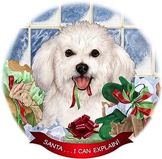 Bichon Frise Dog Porcelain Hanging Ornament Pet Gift 'Santa.. I Can Explain!'