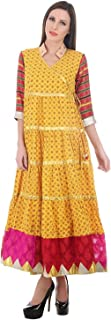 Devaleena Creations Yellow Hunaar print- Mushru sleeved-Red Magenta-hemming gold-silver pahari-Ladies Anarkali Suit