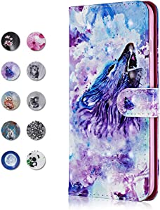 CAXPRO Galaxy S10 Case  Leather Full Body Protective Cover Case with Credit Card Holders  Wrist Strap  Magnetic Closure for Samsung Galaxy S10 Wolf