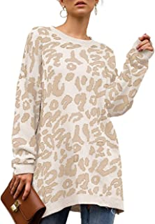 Womens Leopard Print Pullover Oversized Crew Neck Casual...