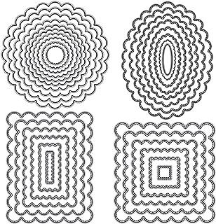 Lot de 4 matrices de découpe ovales, rectangulaires, carrées, pour la fabrication de cartes, le gaufrage, le scrapbooking,...