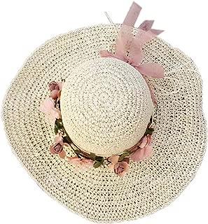 Straw Hat Beach Hat Round Cap Summer Shade Sunscreen Wide Brimmed Hat(Beige)