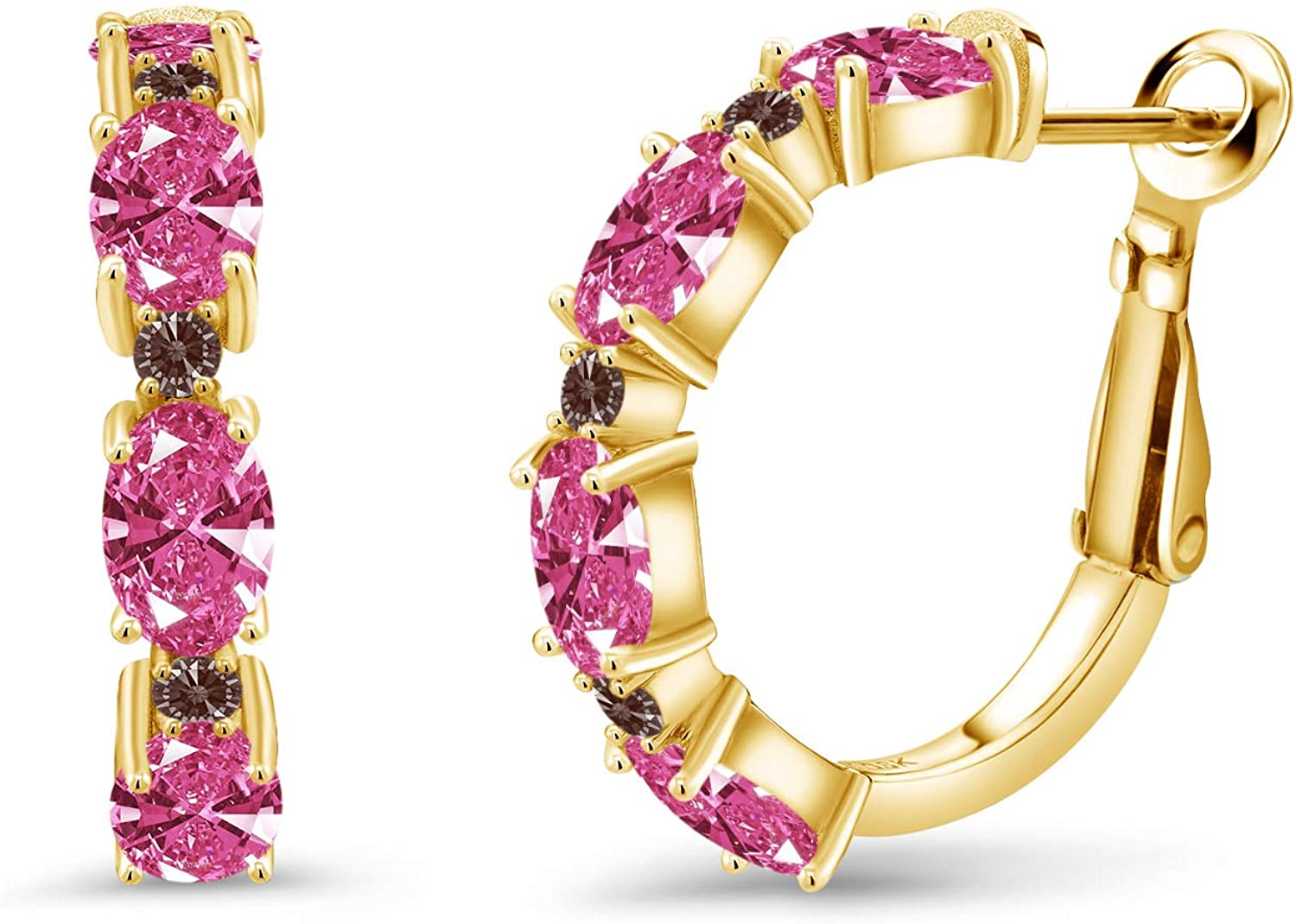 Gem Stone Branded goods King 18K Yellow Gold Plated Silver 6x4mm Earrings Hoop Outlet SALE
