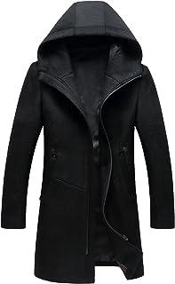 Guandoo Men's Hooded Wool Coat Classic Mid Long Stylish Trench Coat Winter Slim Fit Wool Jacket