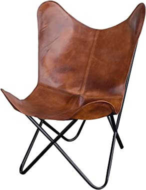 Amerihome Leather Butterfly Chair in (1, Natural Tan)