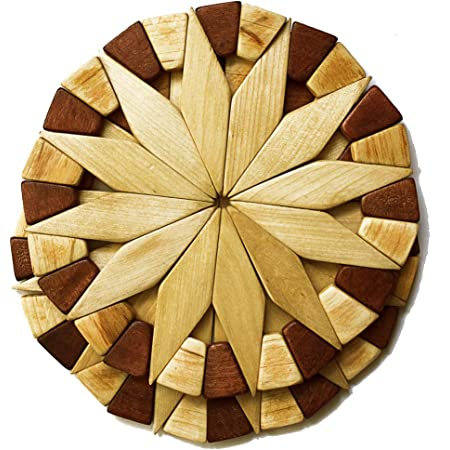 Set of 2 Eximious India Wooden Trivets For Hot Pots and Pans Tea Pot Holder Heat Resistant Durable Handmade Mango Wood Kitchen Dining Table Accessories Dia 8 Inch Honeycomb