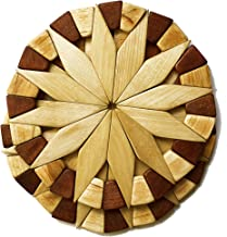 Natural Wood Trivets For Hot Dishes - 2 Eco-friendly, Sturdy and Durable 7'' Kitchen Hot Pads. Handmade Festive Design Tab...