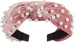 Pearl Velvet Headbands, Retro Twisted Faux Pearl Velvet Beaded Headband 1PCS Vintage Wide Hairband Elastic Hair Hoops Beading Pearl Fashion Headwear Hair Accessories for Women Girls(Pink)