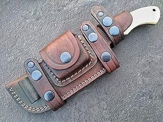 Ottoza Custom Handmade Damascus Tracker Knife with Bone Handle - Survival Knife - Camping Knife - Damascus Steel Knife - Damascus Hunting Knife with Sheath Horizontal Fixed Blade Knife